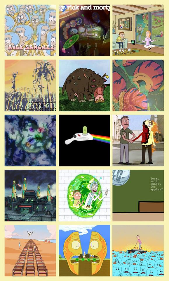 ��fan gives pink floyd album covers a rick and morty