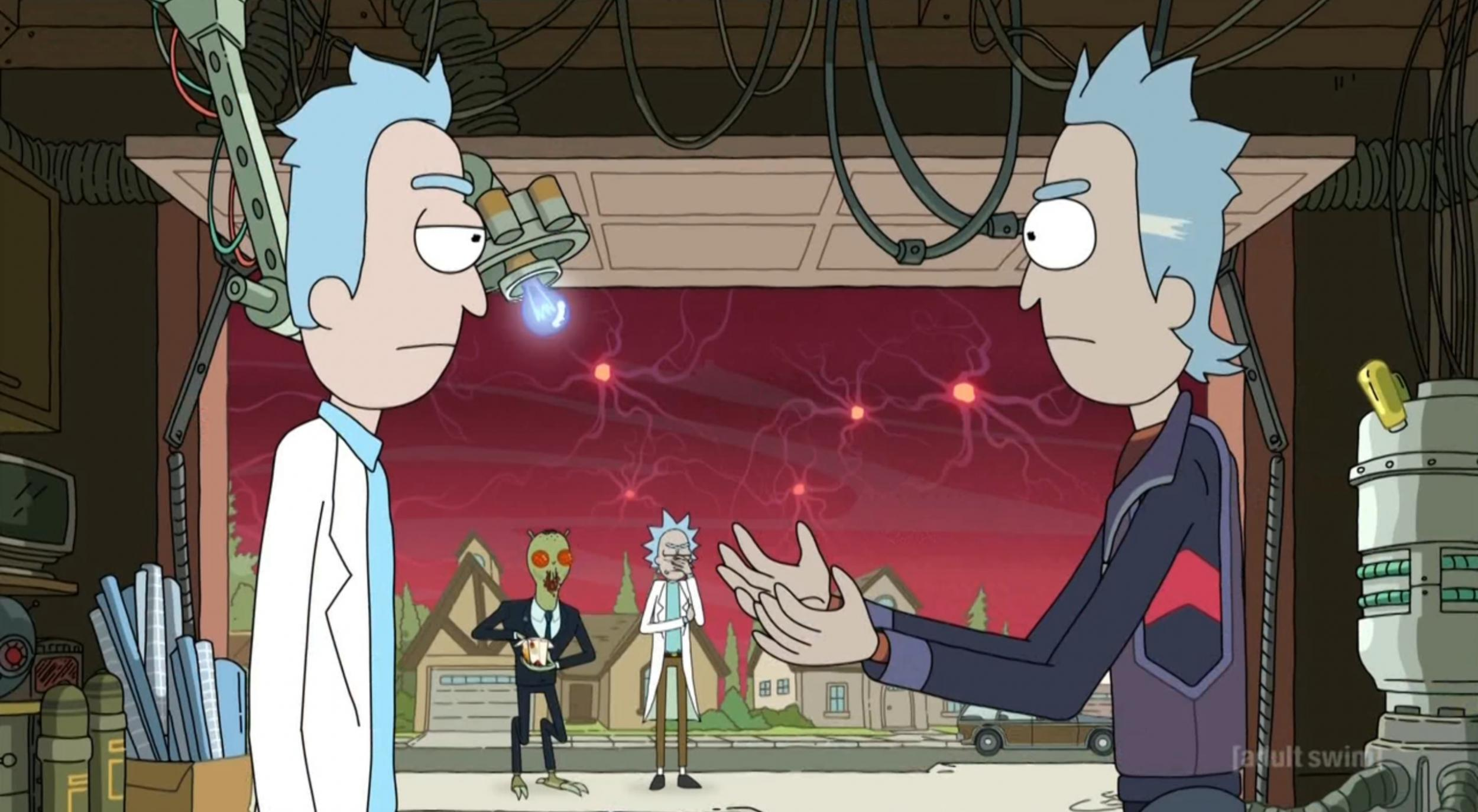 Rick with his younger self in Rick and Morty s03e01